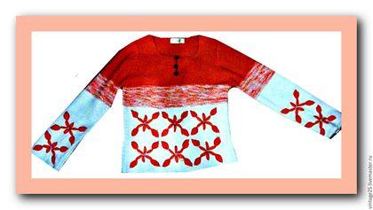 Одежда. Ярмарка Мастеров - ручная работа. Купить Свитер апельсиновый. Handmade. Рыжий, винтажный свитер, Свитер с вышивкой