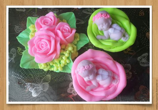 """Материалы для косметики ручной работы. Ярмарка Мастеров - ручная работа. Купить 3D Силиконовая форма для мыла """"Ангелочек на розе"""". Handmade."""