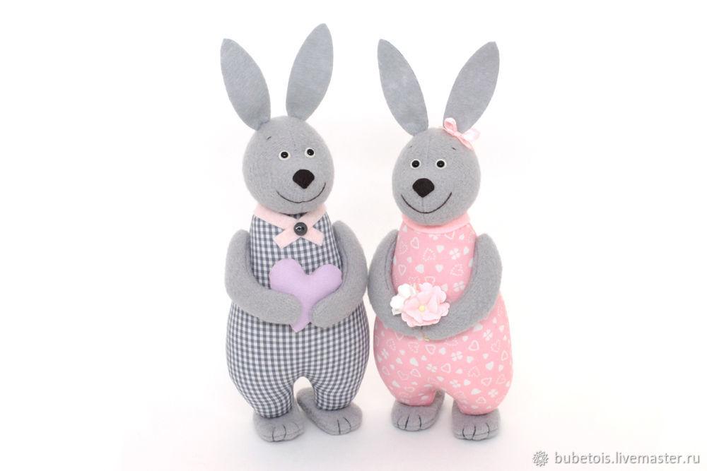 Ситцевые зайцы – подарок на ситцевую свадьбу, годовщину свадьбы, Мягкие игрушки, Москва,  Фото №1