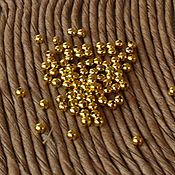 Бусины мелкие шарики 2мм 500шт золото