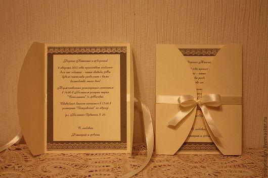 Свадебные аксессуары ручной работы. Ярмарка Мастеров - ручная работа. Купить Приглашение на свадьбу. Handmade. Приглашение, кружево