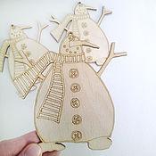 Материалы для творчества ручной работы. Ярмарка Мастеров - ручная работа Снеговик-разукрашка подвесная фигурка. Handmade.
