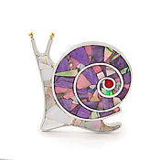 handmade. Livemaster - original item Brooch Snail. Charoite, Rhodonite, Mother Of Pearl, Coral.. Handmade.