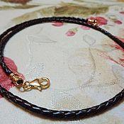 Украшения handmade. Livemaster - original item 2,5 mm braided cord choker leather brown with gold field 14k. Handmade.