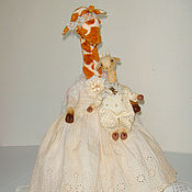 Куклы и игрушки ручной работы. Ярмарка Мастеров - ручная работа Тедди-жирафа с малышом (купить жирафа-тедди) друзья тедди. Handmade.