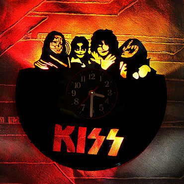 For home and interior handmade. Livemaster - original item Wall clock with LED backlight from kiss vinyl record. Handmade.