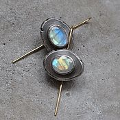 Украшения handmade. Livemaster - original item Earrings with moonstones, silver and Goldfield. Handmade.