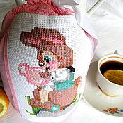 Для дома и интерьера ручной работы. Ярмарка Мастеров - ручная работа Чай с зайчиком большой вместительный мешочек с ручной вышивкой детский. Handmade.