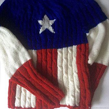 Одежда ручной работы. Ярмарка Мастеров - ручная работа Вязаный джемпер Капитан Америка из кашемира. Handmade.