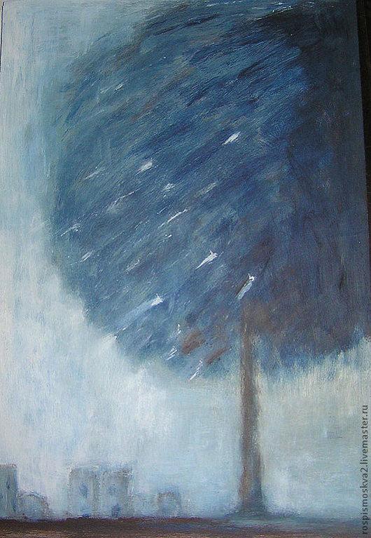 Город ручной работы. Ярмарка Мастеров - ручная работа. Купить Картина   Что-то  синее   небо  дерево. Handmade. Синий