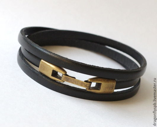 """Украшения для мужчин, ручной работы. Ярмарка Мастеров - ручная работа. Купить Кожаный браслет """"черный"""". Handmade. Черный, unis"""