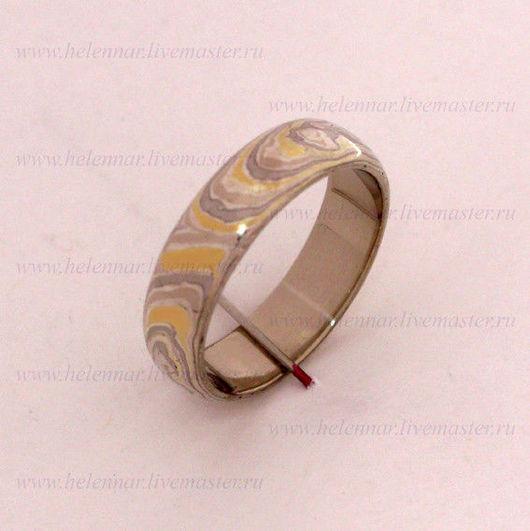 Кольцо обручальное в стиле Мокуме Гане с хаотическим узором
