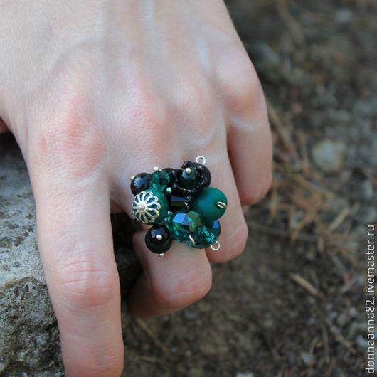 """Кольца ручной работы. Ярмарка Мастеров - ручная работа. Купить Кольцо """"Изумрудная ночь"""". Handmade. Кольцо, изумрудный цвет"""