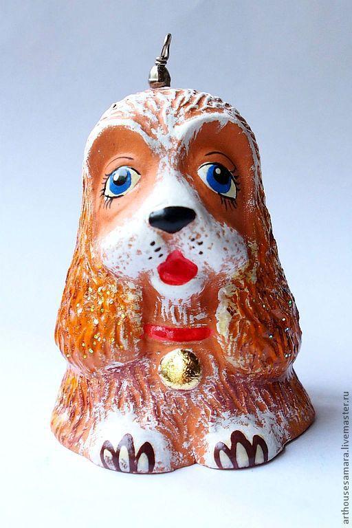 """Колокольчики ручной работы. Ярмарка Мастеров - ручная работа. Купить Керамический колокольчик """"Собачка"""". Handmade. Оранжевый, авторская игрушка, керамический"""