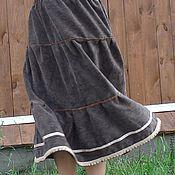 Одежда ручной работы. Ярмарка Мастеров - ручная работа Юбка длинная вельветовая ярусная с кружевом. Handmade.