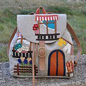 """Рюкзаки ручной работы. Ярмарка Мастеров - ручная работа Льняной рюкзак с кожей """" Уютный Неаполь"""". Handmade."""