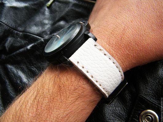 Часы ручной работы. Ярмарка Мастеров - ручная работа. Купить Белый ремешок для часов из натуральной кожи. Handmade. Белый, для часов