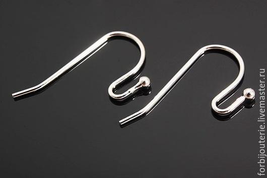 073 Швензы-крючки из латуни с родиевым покрытием. Для украшений ручной работы. Южная Корея.