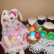 Куклы и игрушки ручной работы. Ярмарка Мастеров - ручная работа Винтажная зайка Наташка с куклой Фенькой. Handmade.