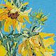 Подсолнухи цветы картина Летний букет Импрессионизм Анна Крюкова impression-живопись Летние цветы картина