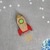 Украшения handmade. Livemaster - original item Embroidered brooch Space rocket. Handmade.