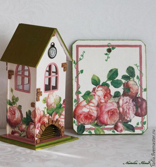 """Кухня ручной работы. Ярмарка Мастеров - ручная работа. Купить набор Чайный домик и разделочная досочка"""" Цветущий дворик"""". Handmade."""