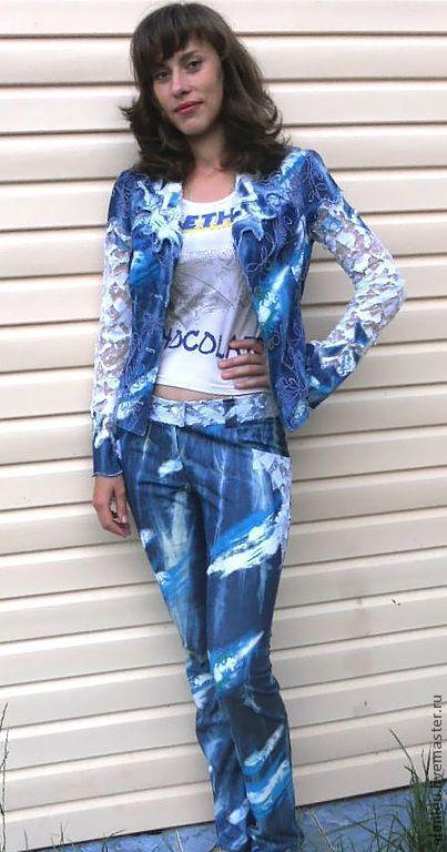 """Пиджаки, жакеты ручной работы. Ярмарка Мастеров - ручная работа. Купить """"Вероника"""" джинсовый костюм. Handmade. Джинсовый стиль"""
