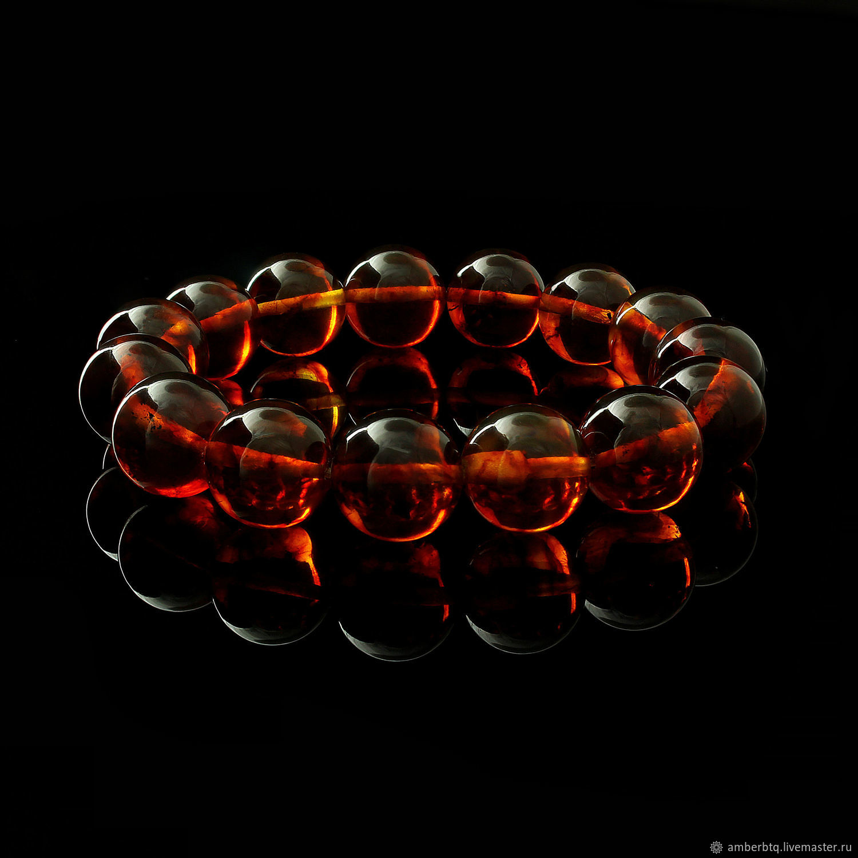Amber bracelet 18 cm from cognac balls with a husk (12 mm) on an elastic band, Bead bracelet, Kaliningrad,  Фото №1