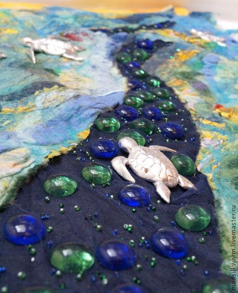 """Пейзаж ручной работы. Ярмарка Мастеров - ручная работа. Купить Текстильное войлочное настенное панно """"Весенние черепахи"""". Handmade."""