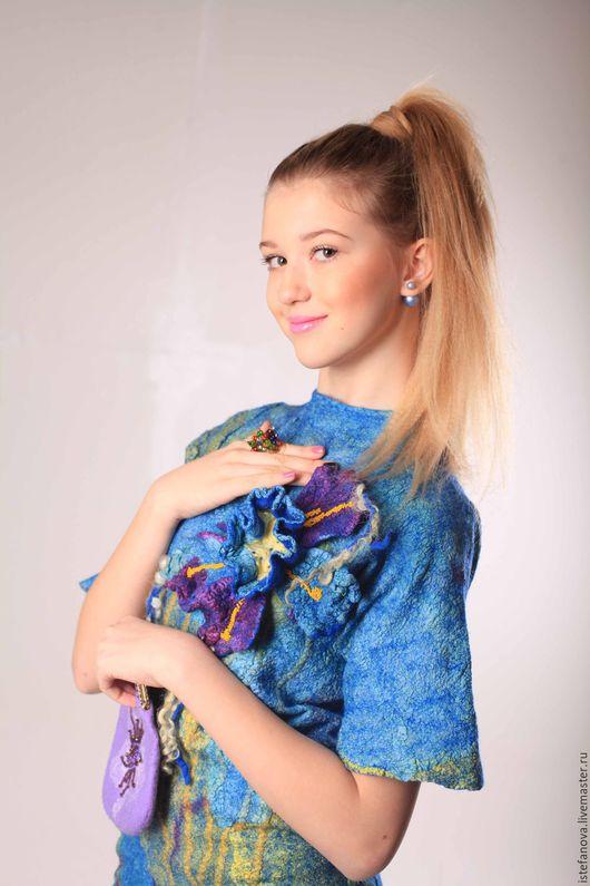 """Платья ручной работы. Ярмарка Мастеров - ручная работа. Купить детское и подростковое платье валяное """"blue bloom"""". Handmade."""