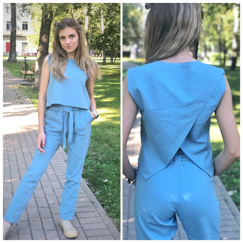 Льняной летний костюм «небесно голубой», Костюмы, Москва,  Фото №1