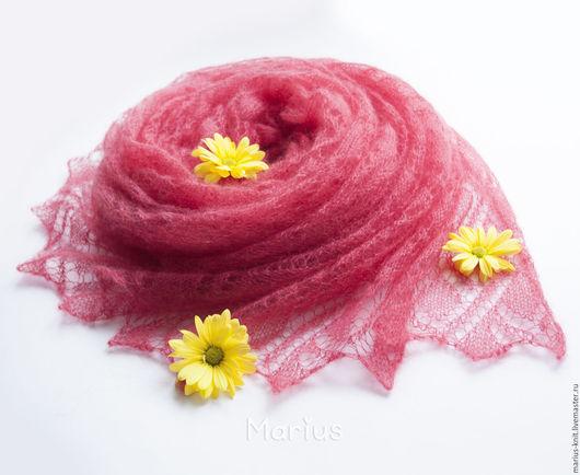 коралл, подарок девушке, подарок женщине, теплый подарок, купить палантин,ажурный палантин, ажурная шаль, шаль ажурная, палантин вязаный, розовый палантин, розовый шарф