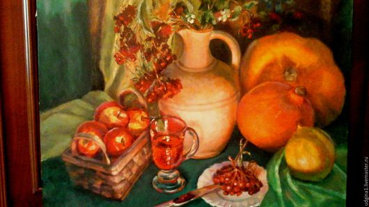 Натюрморт ручной работы. Ярмарка Мастеров - ручная работа. Купить Осенние сумерки. Handmade. Натюрморт с яблоками, осень, холст на подрамнике