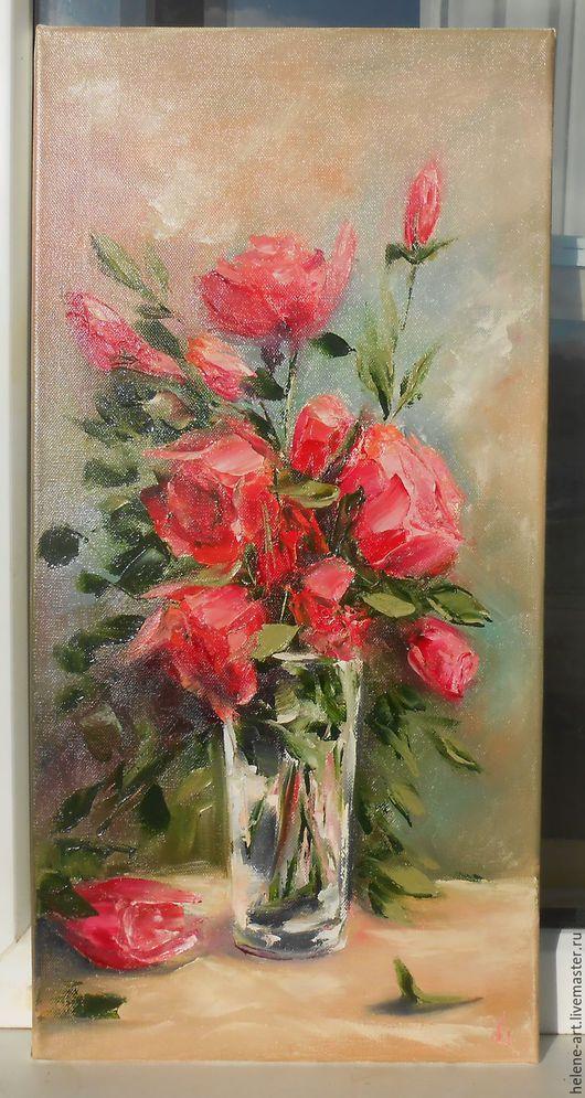 """Картины цветов ручной работы. Ярмарка Мастеров - ручная работа. Купить Картина маслом """"Королевский букет""""30х60 розы,подарок женщине,цветы. Handmade."""