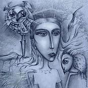 """Картины и панно ручной работы. Ярмарка Мастеров - ручная работа Картина """"Девочка и птицы"""". Handmade."""