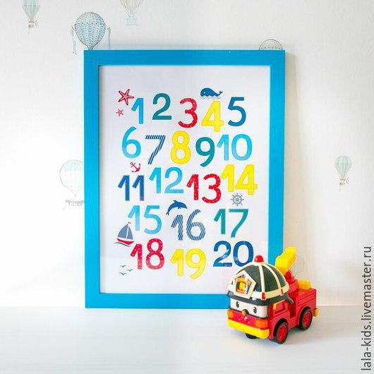 """Детская ручной работы. Ярмарка Мастеров - ручная работа. Купить Постер для детской """"Цифры морские"""". Handmade. Разноцветный, цифры, бумага"""