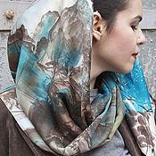 """Аксессуары ручной работы. Ярмарка Мастеров - ручная работа Платок батик """"Морозное утро"""", батик платок, платок шелковый. Handmade."""