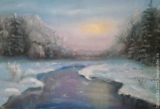 Пейзаж ручной работы. Ярмарка Мастеров - ручная работа. Купить Зимний закат. Handmade. Зима, Снег, зимний лес