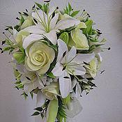 Свадебный салон ручной работы. Ярмарка Мастеров - ручная работа свадебный букет из белых лилий и нежно желтых роз. Handmade.