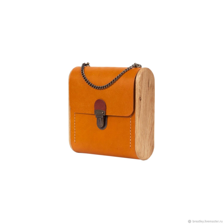 Orange leather and wood handbag-CAPE BRETON-shoulder bag, Crossbody bag, Moscow,  Фото №1
