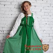 Одежда ручной работы. Ярмарка Мастеров - ручная работа Сарафан косоклинный зелёный. Handmade.