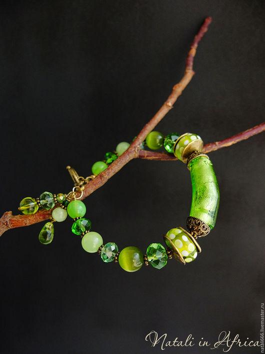 """Браслеты ручной работы. Ярмарка Мастеров - ручная работа. Купить Браслет """"Зелёное яблоко"""" - лэмпворк, чешское стекло, оникс. Handmade."""