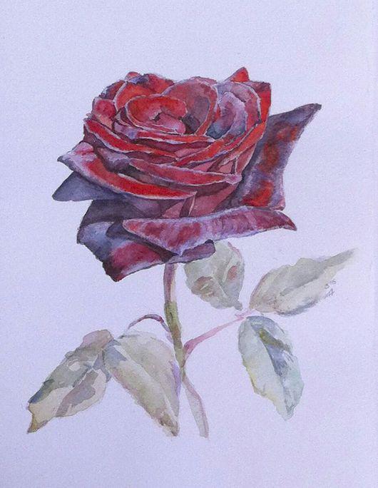 Картины цветов ручной работы. Ярмарка Мастеров - ручная работа. Купить Бархатная. Handmade. Картина с цветами, цветы акварелью, роза