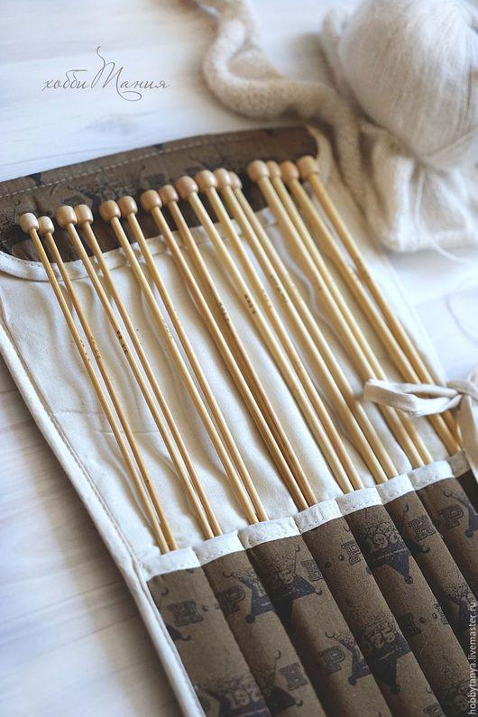 Вязание ручной работы. Ярмарка Мастеров - ручная работа. Купить Набор бамбуковых спиц (№3-№6,5). Handmade. Коричневый