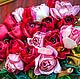"""Картины цветов ручной работы. Картина""""Розы и свеча"""" из коллекции картин ленточной работы от Марии  Л. Мария Людвиг(Гильдебрант). Интернет-магазин Ярмарка Мастеров."""