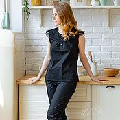 Одежда handmade. Livemaster - original item Pajamas with trousers made of Italian cotton and lace. Handmade.