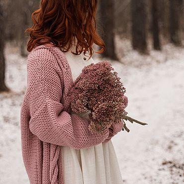 Одежда ручной работы. Ярмарка Мастеров - ручная работа Розовый вязаный кардиган с косами. Oversize. Handmade.