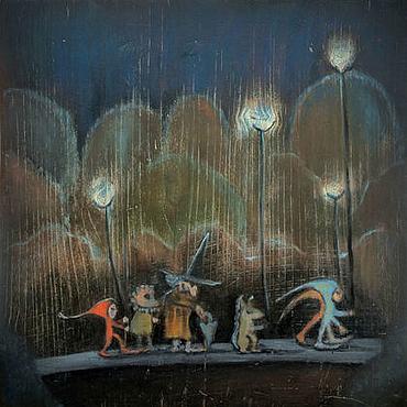 Картины и панно ручной работы. Ярмарка Мастеров - ручная работа Шествие с огоньками Масляная живопись Картина в детскую. Handmade.