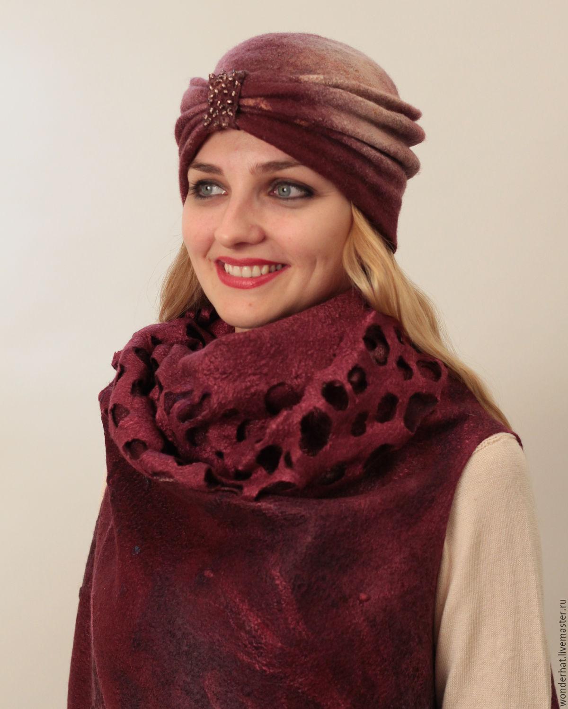 Комплект шапка шарф варежки