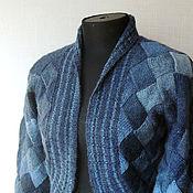 """Одежда ручной работы. Ярмарка Мастеров - ручная работа Жакет вязаный """"Оттенки синего"""" шерсть, энтерлак. Handmade."""